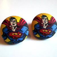 Superman portrait button earrings