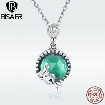 Authentic 925 Sterling Silver Love of Mermaid Sea Blue Crystal Pendant Necklace for Women Silver Bijoux Chain Necklace GXN262