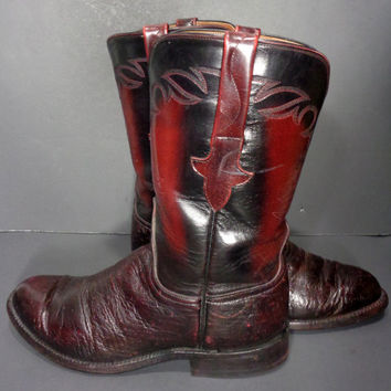 Lucchese Burgundy Exotic Ostrich Cowboy Western Roper Boots Women's Size 8