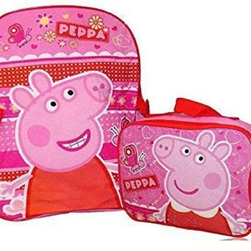 "Peppa Pig Girls 16"" School Backpack With Lunch Bag Combo"