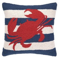 Sailor Stripe with Crab Hook Pillow