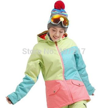 2016 new women's color matching ski jacket green blue pink snowboard jackets female skiing jacket anorak skiwear waterproof 10K