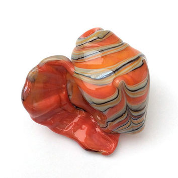 Hollow Lampwork Glass Coral Seashell Bead