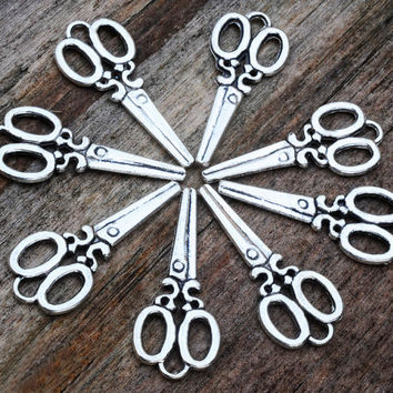 Silver Plated Scissors Charms 33 x 15mm 8pcs Jewellery Findings Jewellery Making diyforstyle