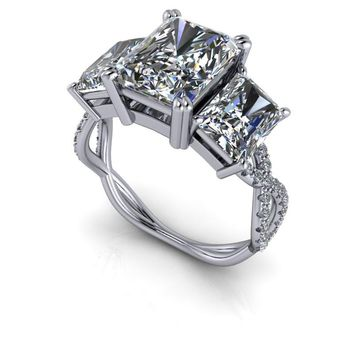 Russian Brilliants Radiant Cut Three Stone Diamond Engagement Ring