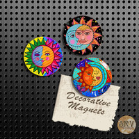 Sun and Moon Magnets, Gift Set, Fridge Magnets, Set of 3 Handmade Wood Refrigerator Magnets, Kitchen Decor, Housewarming Gift, Locker Decor