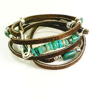 Boho multi leather wrap bracelet leather wrap cuff turquoise stones Sterling silver wrap bracelet