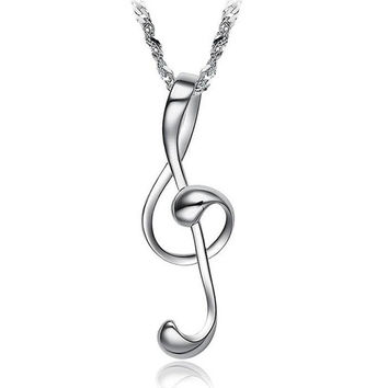 New Fashion Exquisite Jewelry 18K White Gold Plated Loving Dance Music Note Scale Female Wedding Necklaces & Pendant For Women