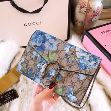 "Hot Sale ""GUCCI"" Fashion Women Shopping Bag Blue Flower Pattern Leather Metal Chain Shoulder Crossbody Satchel I/A"
