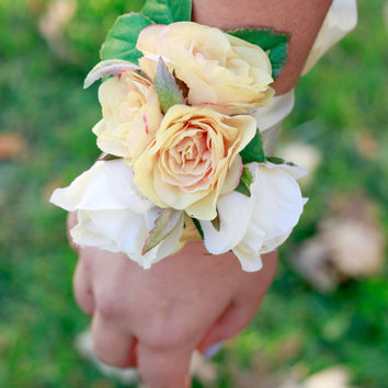 Silk Pastel Yellow and Ivory Rose Corsage