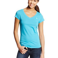 U.S. Polo Assn. Juniors Solid V-Neck Tee, Surf Blue, Small