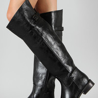 Buckle Round Toe Riding Thigh High Boot 3 Colors