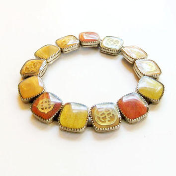 Gold and Maroon Stretch Bracelet with Nautical Motifs and Symbols Vintage Glass Squares Metal Prongs 1960s
