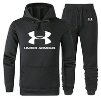 Under Armour Autumn Winter Fashion Women Men Casual Top Sweater Pants Trousers Set Two-Piece Black