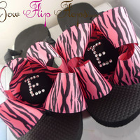 Personalized Flip Flops Rhinestone Zebra Bow Initial Chocolate Brown Ribbon Custom  Monogrammed Initial Flip Flops for Girls, Ladies