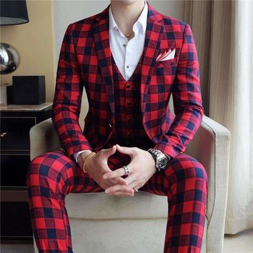 Wedding Suits For Mens Red Tuxedo Plaid Suits Mens 2018 Korea Anzug Social Business Suits Formal Wear Stage Stylish Slim Fit