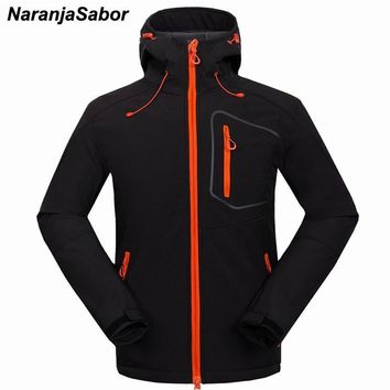 Trendy NaranjaSabor Men's Winter Fleece Heated Softshell Jackets Causual Windstopper Waterproof Hooded Male Coats Mens Brand Clothing AT_94_13