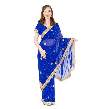 Rich and Elegant Royal Blue Pre-Pleated Ready-Made Sari