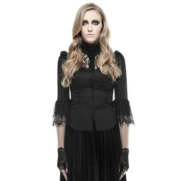 Gothic Black Sexy Hollow Out Shirt for Women Steampunk Stand Collar Half Sleeves Blouse with Lace Tails