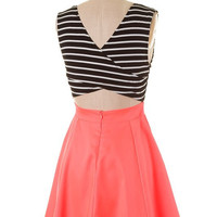 Sailor Stripes Dress - Neon Coral