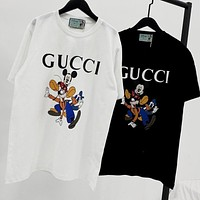 GUCCI x Disney Fashion Women Men Casual Donald Duck Print Short Sleeve T-Shirt Top
