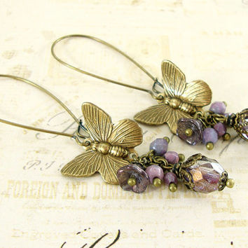 Butterfly Earrings - Extra Long Flower Cluster Dangle Earrings - Czech Glass Antique Brass Neo Victorian Vintage Style Whimsical Jewelry