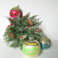 Vintage 1950s Shiny Bright Ornaments / Mercury Glass Glitter Christmas Ornaments / Merry Christmas Bells