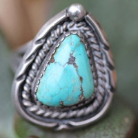 Turquoise Ring Boho Sterling Silver Navajo