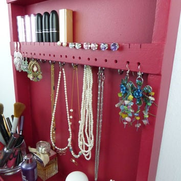 Wine red - makeup and jewelry organizer - display - nail polish rack - beauty station - bedroom storage -wall