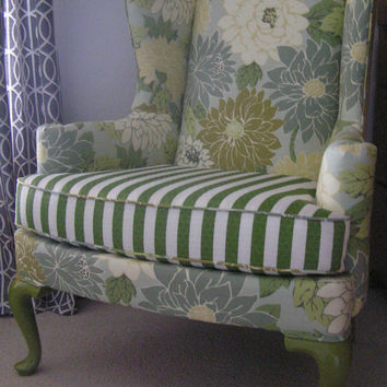 Vintage Wingback Chair Reupholstered in Flowered by UpcycledHome