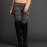 Charcoal Tribal Print Leggings