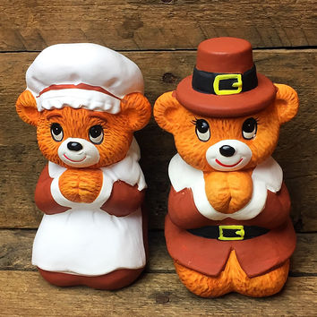 Vintage Lefton Set of 2 Thanksgiving Pilgrim Bear Figurines 1986