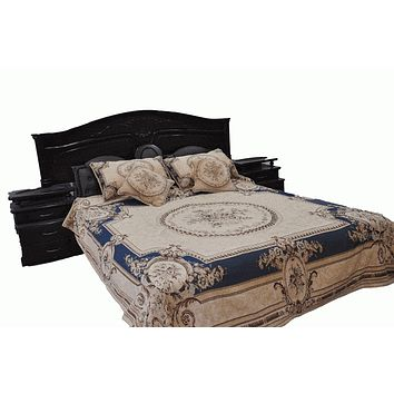 Tache 3 to 5 PC Chenille Blue Garden Guardian Bedspread Quilt Set (DSC0011)