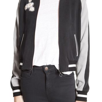 Elizabeth and James Willa Embroidered Reversible Bomber Jacket | Nordstrom