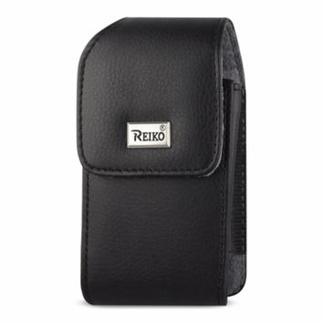 Reiko Vertical Leather Pouch TREO 650 Black With Megnetic and Metal Belt Clip Inner Size: 4.40X2.30X0.90inch