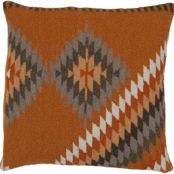 Kilim Throw Pillow Orange, Brown