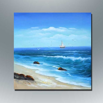 100%handmade  oil painting wall art home decoration for livingroom seascape boat custom original art scenery wind wave