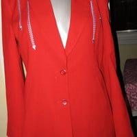 Vintage Red Jacket Mint  / Light Blue Arrow Design / Dressy Country Western  / Manuel Collections