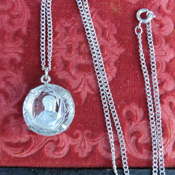 Vintage Glass Intaglio Pendant Cameo Faceted Glass Costume Jewelry