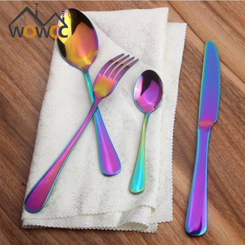 24Pcs Stainless Steel Colorful Cutlery Set Rainbow Gold Plated Dinnerware Creative Dinner Set Fork Knife for Wedding and Hotel