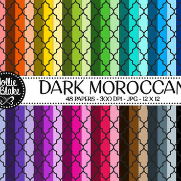 Buy 1 Get 1 Free!! 48 Dark Moroccan Digital Paper • Rainbow Digital Paper • Commercial Use • Instant Download • #MOROCCAN-101-2-D