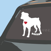 BOXER dog vinyl decal (style 1) - with Red Heart. For car windows, laptops & other devices. Customizable, personalize this unique car decal!