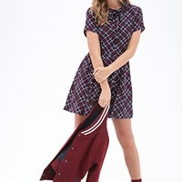 FOREVER 21 Plaid Print Pleated Shirtdress Dark Navy/Burgundy