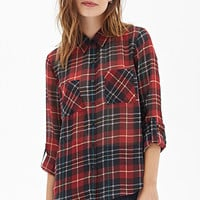 FOREVER 21 Tartan Plaid Chiffon Blouse Red/Black