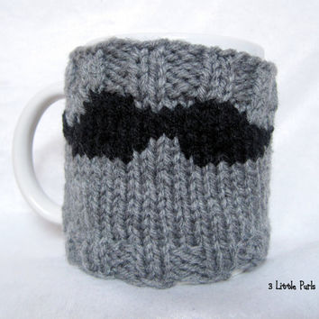 Mustache Mug Cozy, Travel Mug Sleeve, Reusable Coffee Sleeve, Hand Knit, Coffee Cozy, Father's Day Gift, Gifts for Him, Grey, Black, Cosy