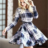 White and Blue Plaid Print Long Sleeve Dress