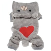 Pet Puppy Dog Love U Red Heart Bear Warm Fleece Hoodie Winter Clothes Jumpsuit Coat Clothes Hooded Coat,Asian size:XL/L/M/S/XS