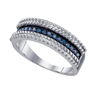 Blue Diamond Fashion Band in Sterling Silver 0.23 ctw