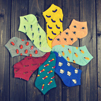 Women's socks cute fruit color love candy color cotton sock women's thin sock slippers calcetines.mix colors.