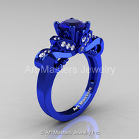 Classic 14K Blue Gold 1.0 Ct Blue Sapphire Diamond Solitaire Engagement Ring R323-14KBLGDBS